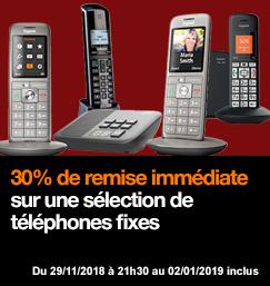 30% de remise immédiate sur une sélection de téléphones fixes, du 29/11/18 au 02/01/19.