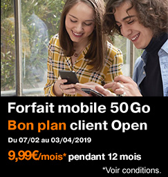Bon plan client Open, Forfait mobile 50Go à 9,99 euros par mois pendant 12 mois