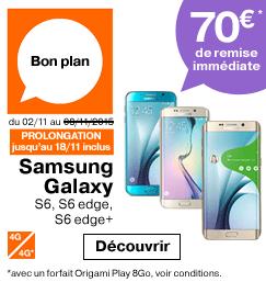 'bon plan. Samsung Galaxy S6, S6 edge et edge+ 70€ de remise immédiate avec un forfait Origami Play 8 Go' from the web at 'http://boutique.orange.fr/barreeshop/img/243x257-bon-plan-samsung-galaxy-s6-s6-edge-et-edge-70-de-remise-immediate-avec-un-forfait-origami-play-8-go-37588.png'