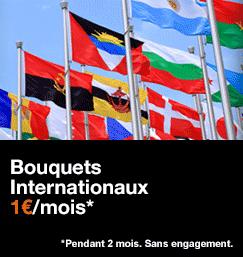 Bouquets Internationaux, 1€/mois pendant 2 mois. Sans engagement.