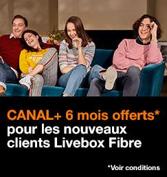 CANAL PLUS offert pendant 6 mois pour les nouveaux clients Livebox Fibre