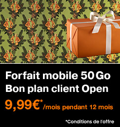 Client Open Forfait 50Go à 9,99€ pendant 12 mois