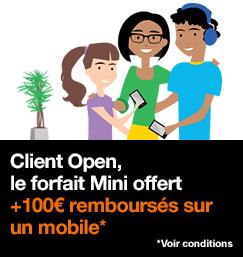 Forfait Mini pour client Open offert avec jusqu'à -100€ sur une sélection de smartphones