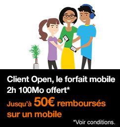 Le forfait mobile 2h 100Mo offert pour les clients Open