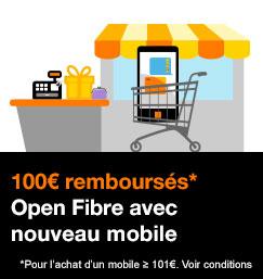 Open Fibre Play et Jet avec 100 euros remboursés pour l'achat d'un mobile supérieur ou égal à 101 euros