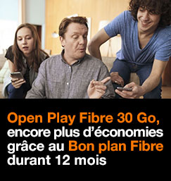 Open Play Fibre 30 Go à partir de 29,99€/mois pendant 12 mois