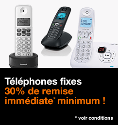 Téléphones fixes, 30% de remise immédiate minimum !