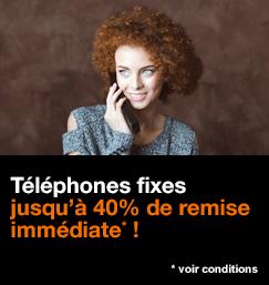 Téléphones fixes, jusqu'à 40% de remise immédiate, voir conditions.