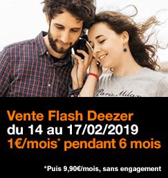 Vente Flash Deezer Premium du 14 au 17 février 2019 inclus, à 1 euro par mois pendant 6 mois puis 9,90 euros, sans engagement