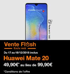 Vente Flash Huawei Mate 20 du 17 au 19 décembre 2018