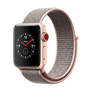 Acheter Apple Watch Series 3 Cellular boîtier 38 mm aluminium or bracelet rose des sables