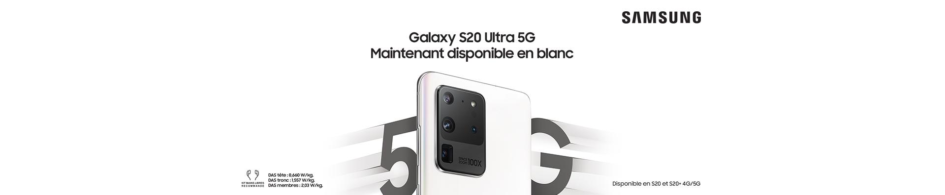 Samsung galaxy S20 blanc