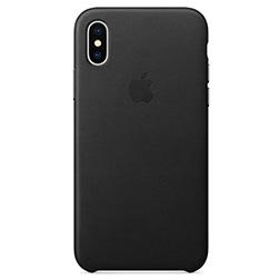 Coque en cuir pour iPhone X Noire vue 1