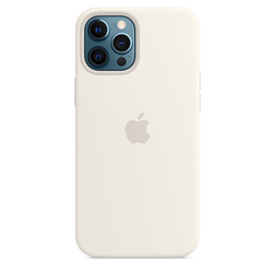Coque en silicone avec MagSafe pour iPhone 12 Pro Max - Blanc