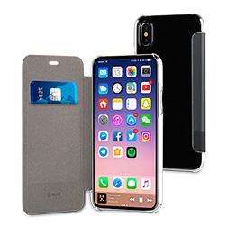 Etui a rabat Premium Muvit pour iPhone X Noir vue 1