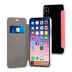 Etui a rabat Premium Muvit pour iPhone x Rose vue 1