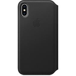 Etui folio en cuir pour iPhone X - Noir vue 1