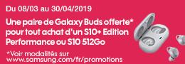 Sosh S10 EP et S10 512 Go Galaxy Buds offerte