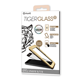 Film de protection Tiger Glass pour iPhone SE, 6, 6S, 7, 8 noir