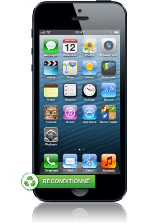 iphone 5 16go reconditionn noir ardoise ios6 cran. Black Bedroom Furniture Sets. Home Design Ideas