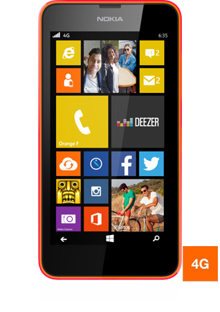 Nokia Lumia 635 orange vue 1