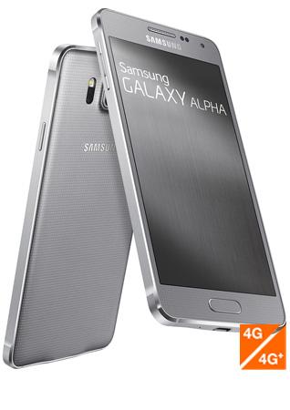 Samsung Galaxy Alpha argent vue 1