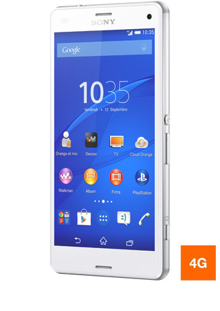 Sony Xperia Z1 compact blanc vue 1