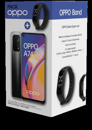 OPPO A74 5G noir + bracelet connecté OPPO Band