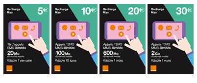 t offres mobile Orange et options Recharge mobicarte CaraCAFbe payCAe mais pas de crCAdit td p