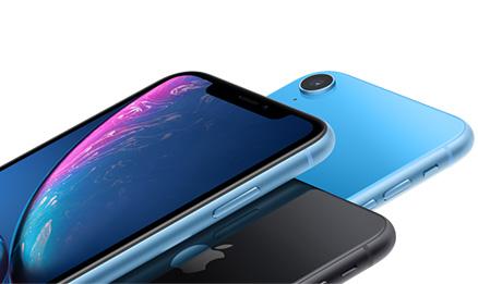 Visuel de plusieurs Apple iPhone XR en bleu et noir