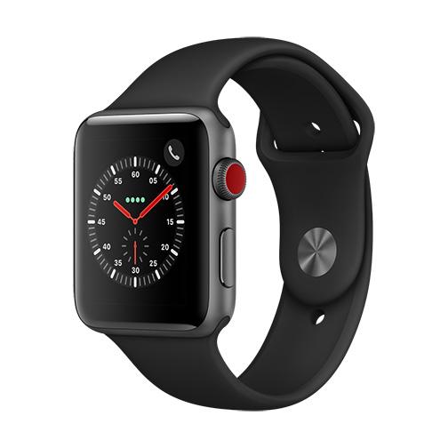 apple watch serie 3 4g bo tier 42 mm aluminium gris sid ral avec bracelet sport noir orange. Black Bedroom Furniture Sets. Home Design Ideas