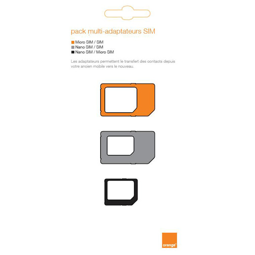 carte micro sim orange Pack multi adaptateur pour carte sim, nano et micro   Orange