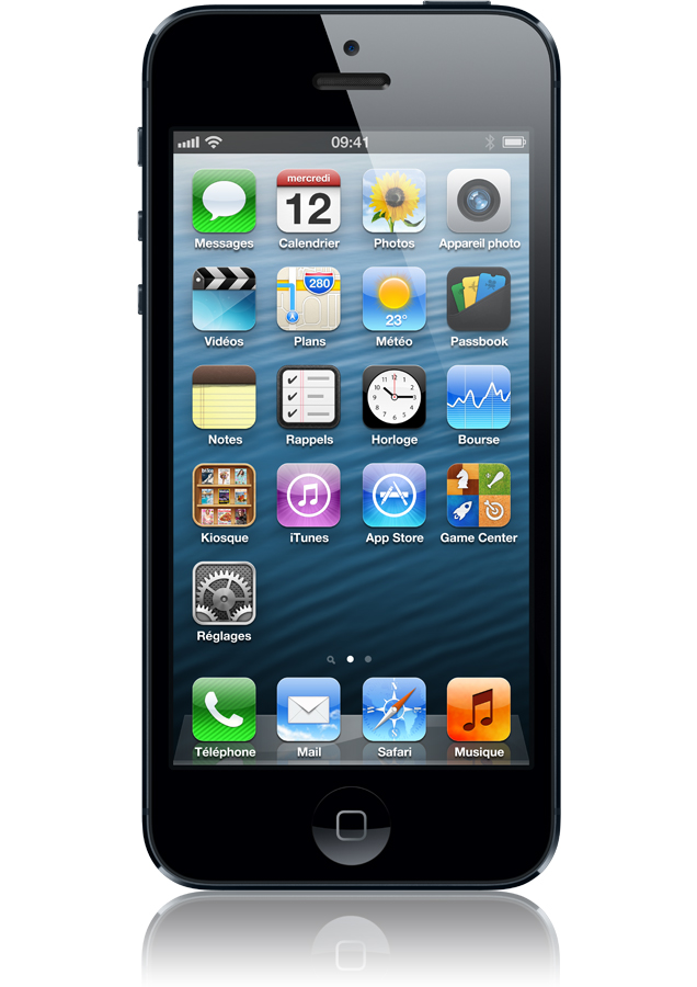iphone 5 16go reconditionn noir ardoise ios6 cran r tina 4 orange. Black Bedroom Furniture Sets. Home Design Ideas