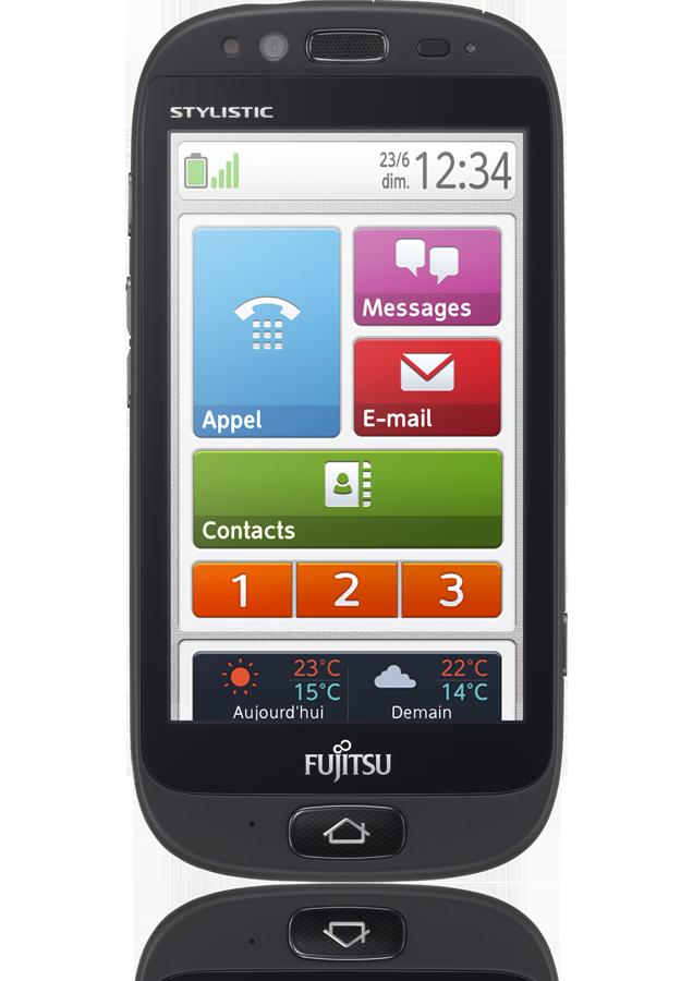 smartphone fujitsu stylistic s01 noir adapt aux s niors. Black Bedroom Furniture Sets. Home Design Ideas