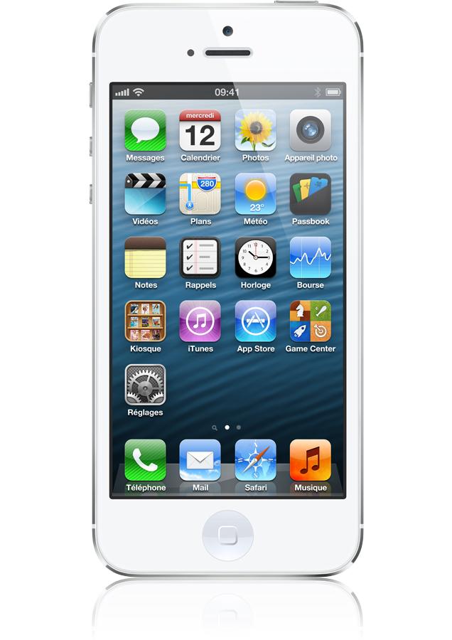apple iphone 5 16go blanc argent occasion ios6 cran. Black Bedroom Furniture Sets. Home Design Ideas