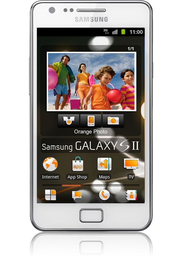 samsung galaxy s2 blanc reconditionn android 4 27 pouces orange. Black Bedroom Furniture Sets. Home Design Ideas