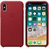 Coque en cuir pour iPhone X Rouge vue 2