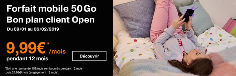 Forfait 50 Go pour client Open à 9,99€ par mois