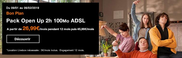 Bon Plan Pack Open Up 2h 100Mo ADSL
