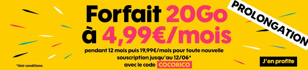 Forfait 20Go à 4,99� pendant 12 mois avec le code COCORICO
