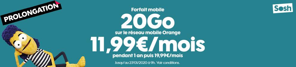 Forfait mobile 20Go 11,99€/mois pendant 1 an puis 19,99€/mois*