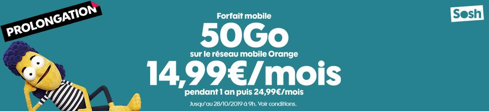 Le forfait mobile 50Go à 14,99€/mois*