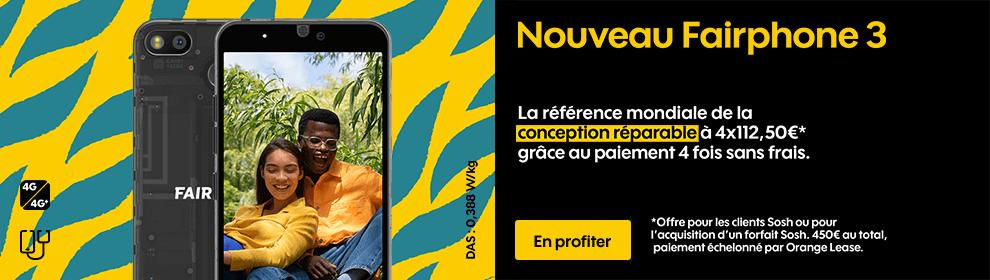 Nouveau Fairphone 3 - La référence mondiale de la conception réparable à 4x112,5€*