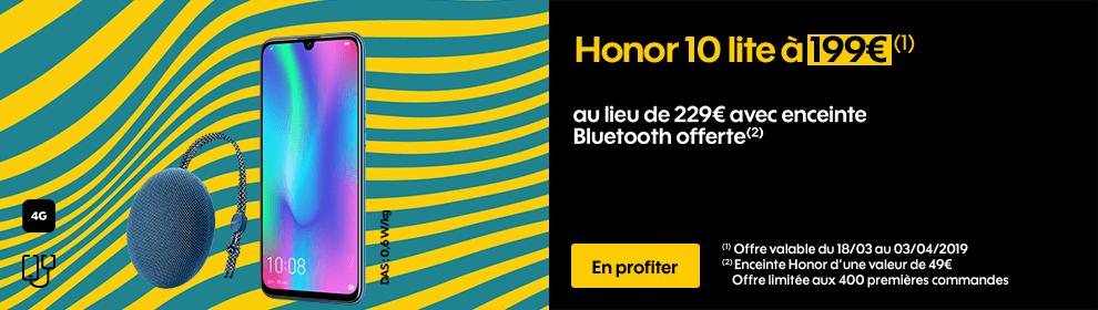 Honor 10 lite à 199€ au lieu de 229€ avec enceinte Bluetooth offerte*