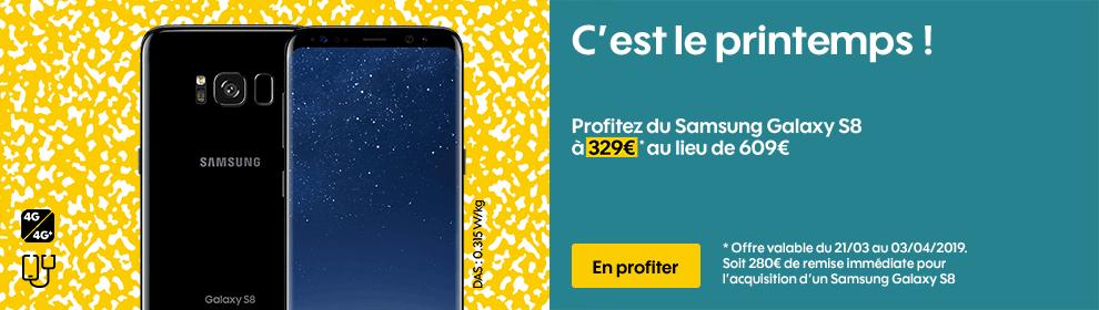 Profitez du Samsung Galaxy S8 à 329€ au lieu de 609€*