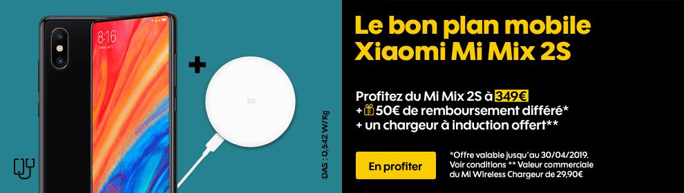 Profitez du Xiaomi Mi Mix 2S à 349€ + 50€ de remboursement différé* + un chargeur à induction offert**