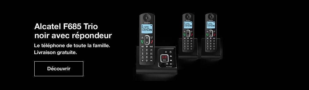 Alcatel F685 trio noir avec répondeur