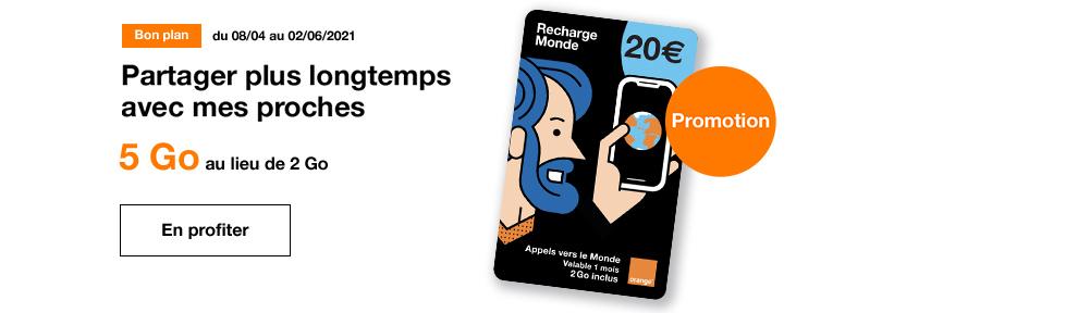 promo recharge Monde 20 euros avril 2021