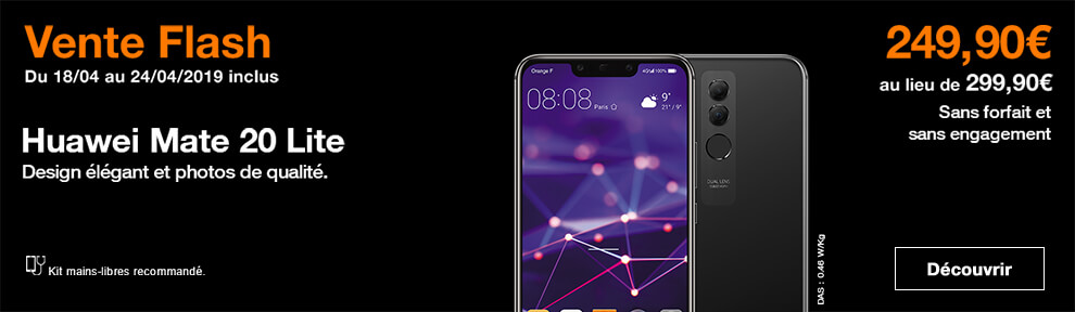 vente-flash huawei mate20 lite